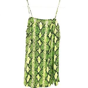 NWT UO| MOTEL Snake Print Datista Slip Dress LIME